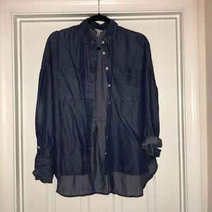 Jean chambray button down shirt